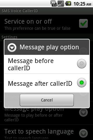 SMS Voice CallerID