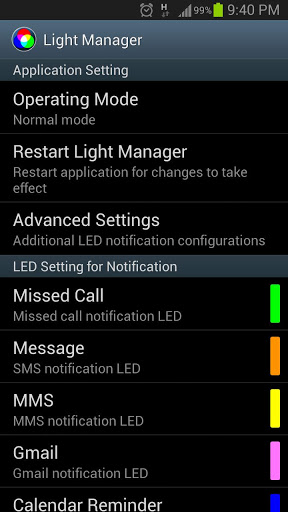 Light Manager - LED Settings