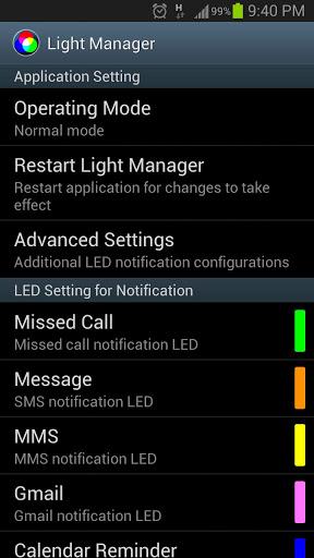 Light Manager – LED Settings