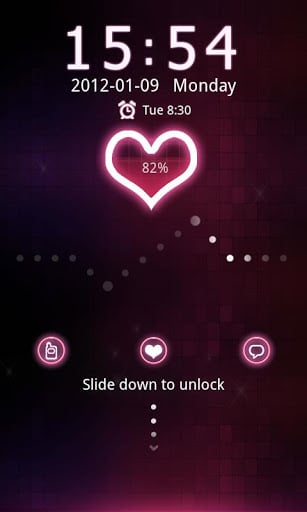 Red heart Theme GO Locker