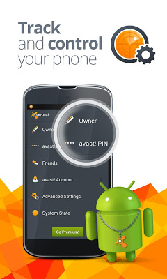 Avast Anti Theft on phone gps tracking map