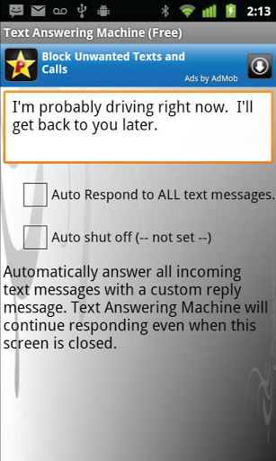 Text (SMS) Auto Reply