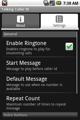 Talking Caller ID (free)