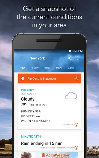 Stay Connected To The Latest Weather Conditions With AccuWeather Now Supporting Android WearTM This Free App Features New MinuteCastR