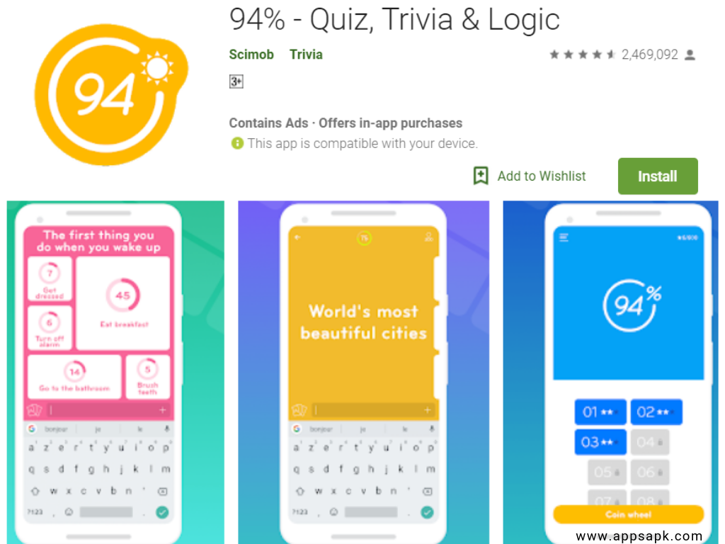 94% Quiz App per Android
