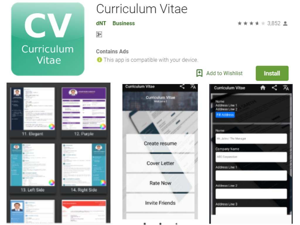 Curriculum Vitae Android App