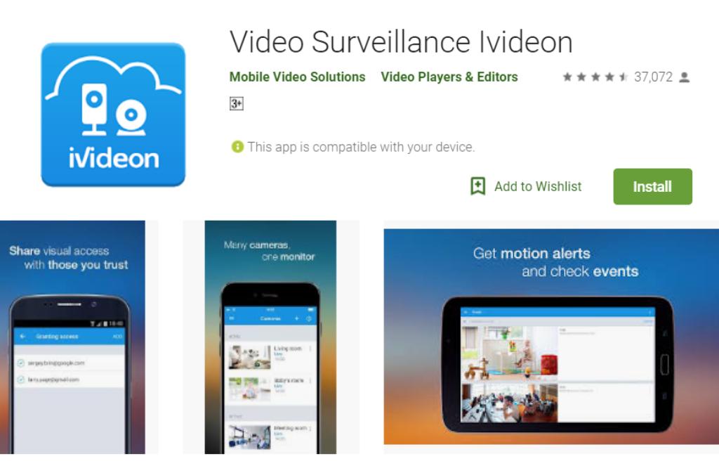 iVideon မူလစာမျက်နှာလုံခြုံရေးကင်မရာ App ကို