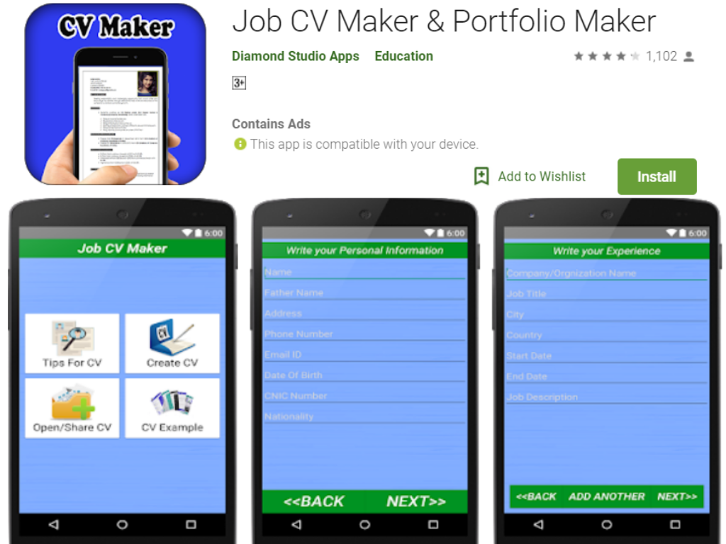 Job CV Maker Android App