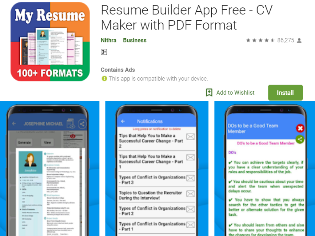 My Resume Builder App for Android