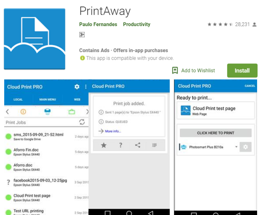 PrintAway for android
