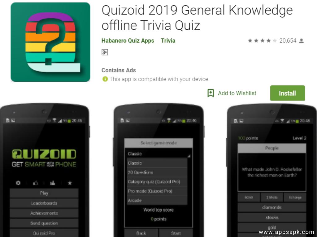 Quizoid quiz app