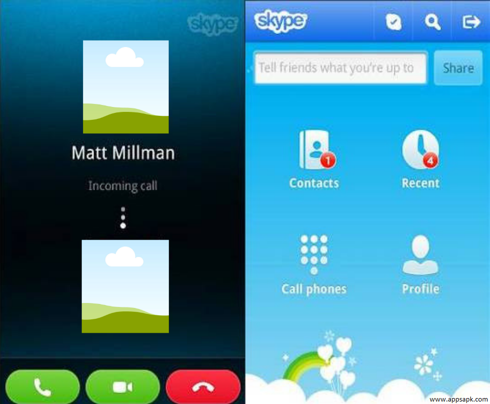 Skype video call app
