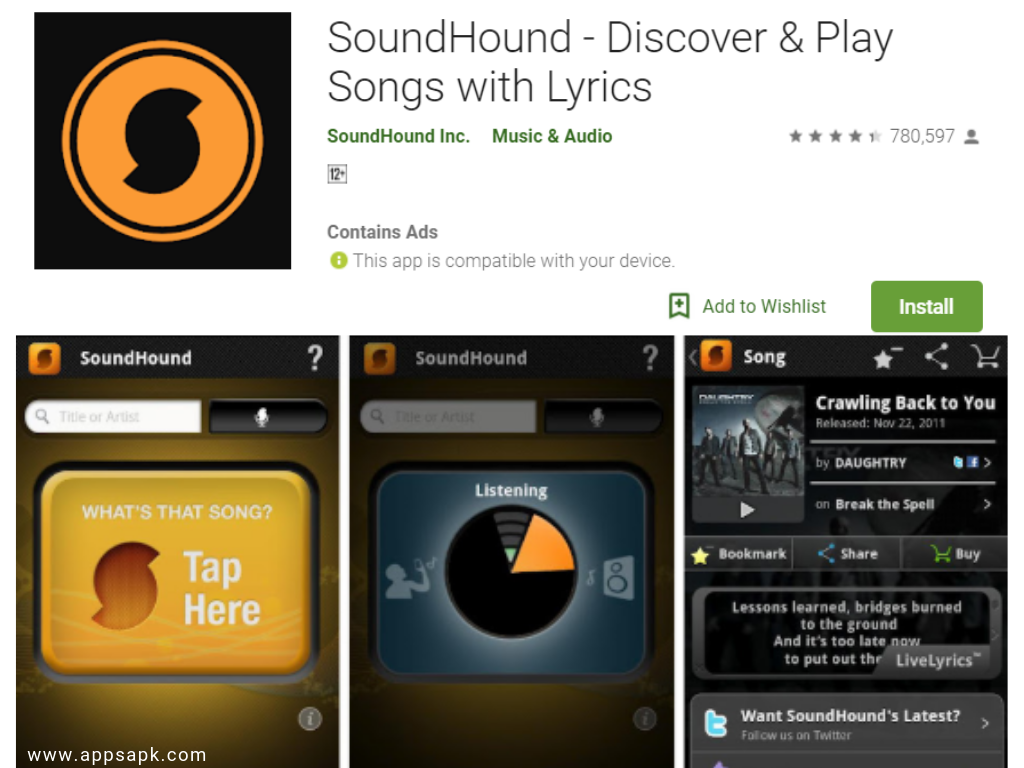 Sound Hound apps to identify songs
