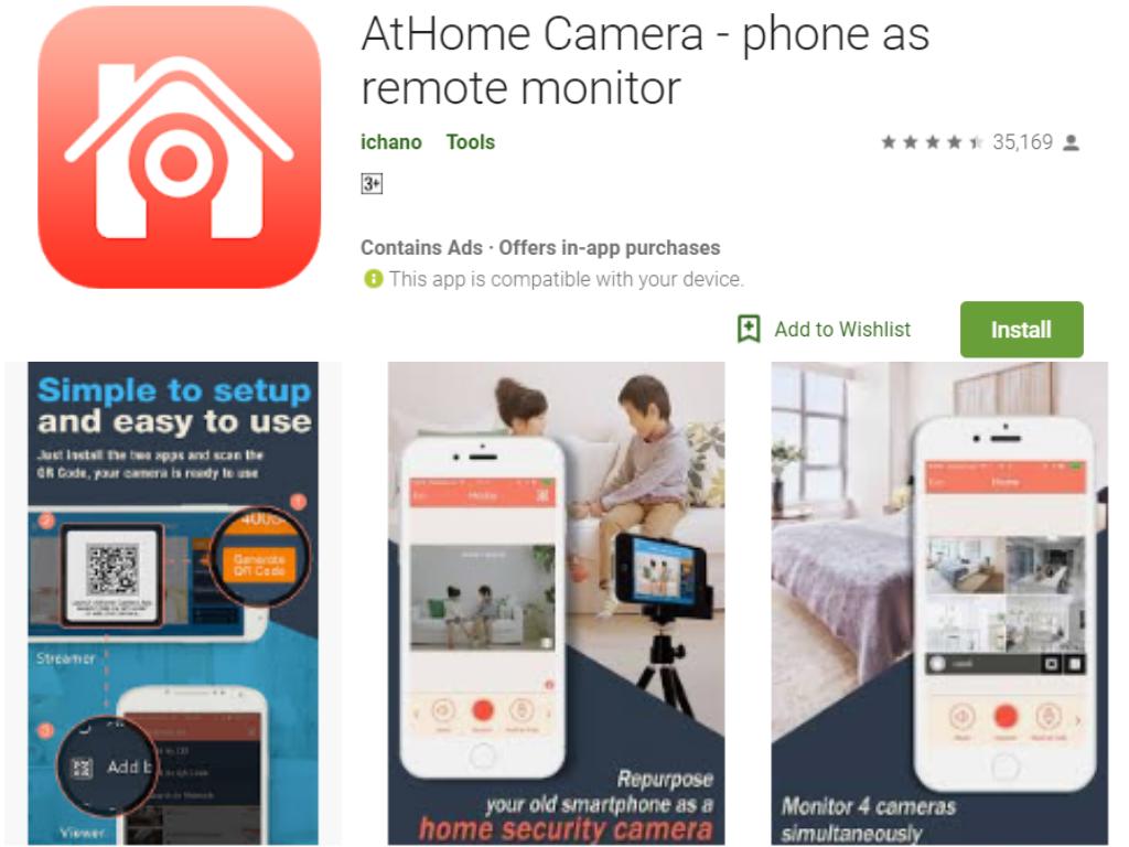 athome ကင်မရာအိမ်မှာလုံခြုံရေး app တစ်ခု