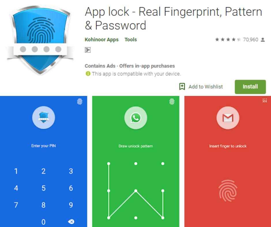 App Lock Real Fingerprint Pattern and Password