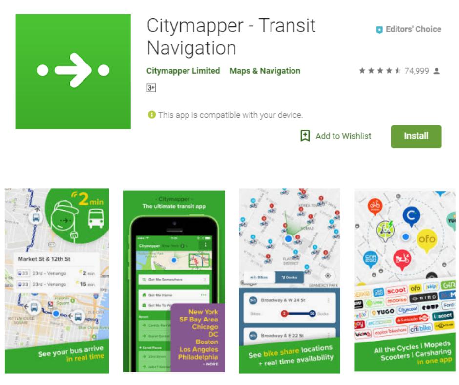 Citymapper Beste NYC metrokaart-apps