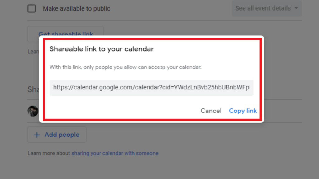 Copy Link to share goolge calendar