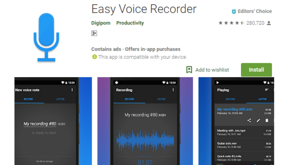 Easy Voice Recorder App for Android