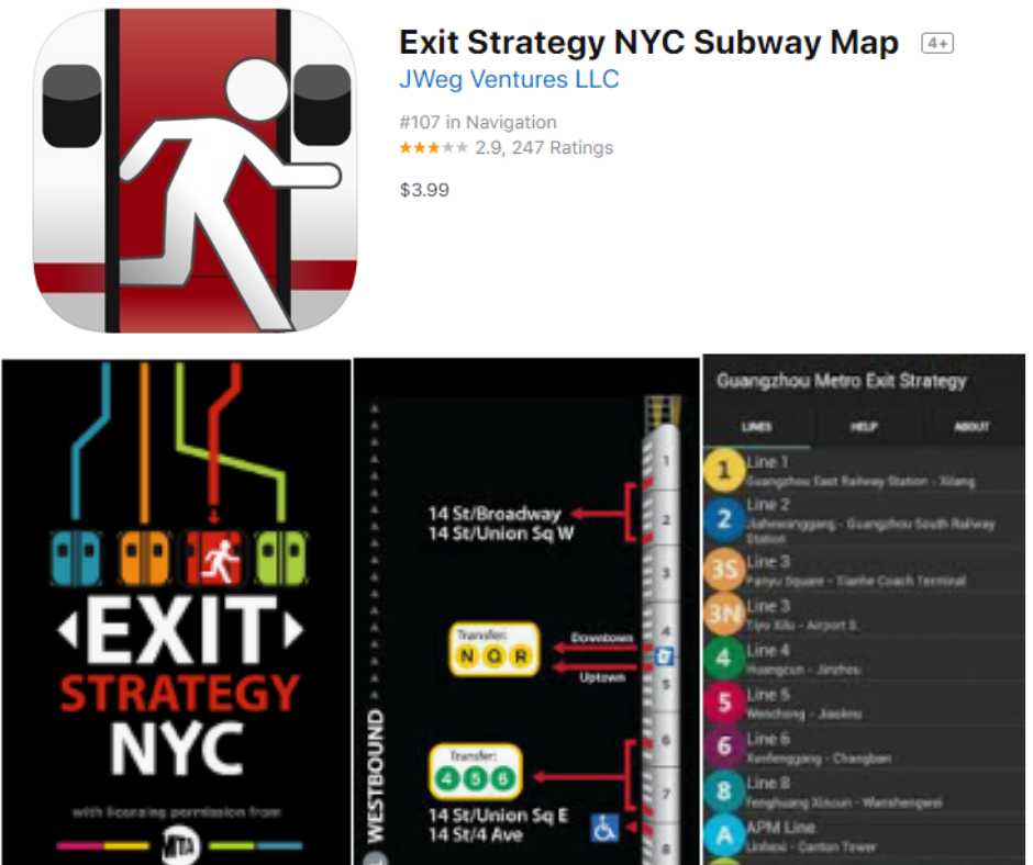 Esci dall'app Strategia Subway Map