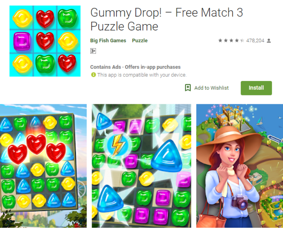 Gummy Drop Free Match Puzzle Game