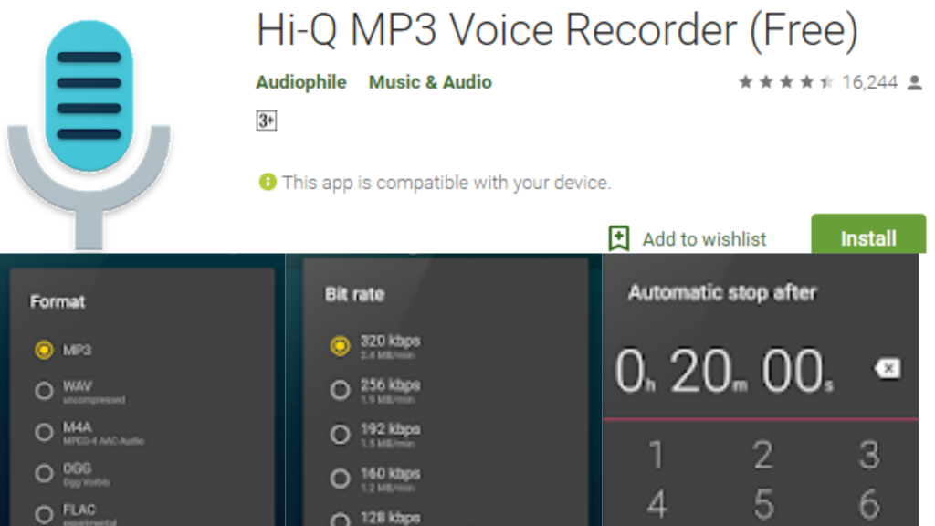 Hi-Q MP3 Voice Recorder App for Android
