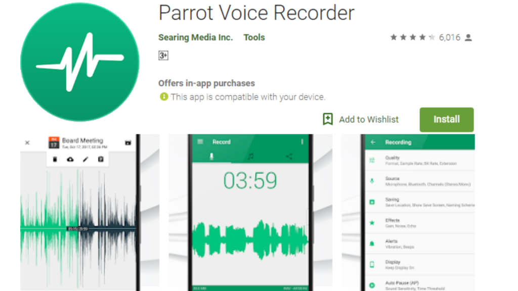 Parrot Vioce Recorder App
