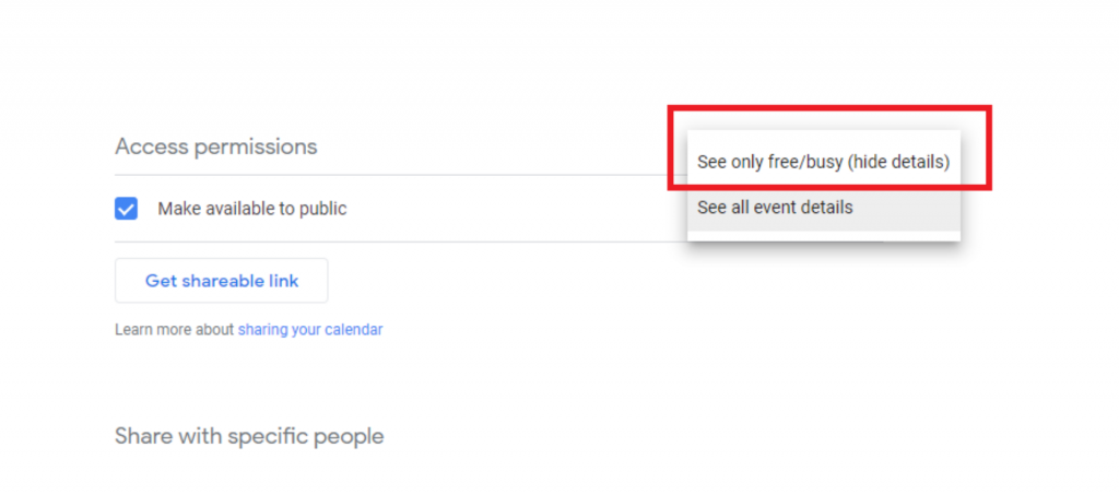 خيارات إذن لمشاركة تقويم جوجل