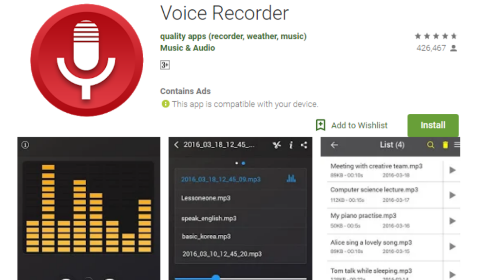 Voice Recorder Free App for Android