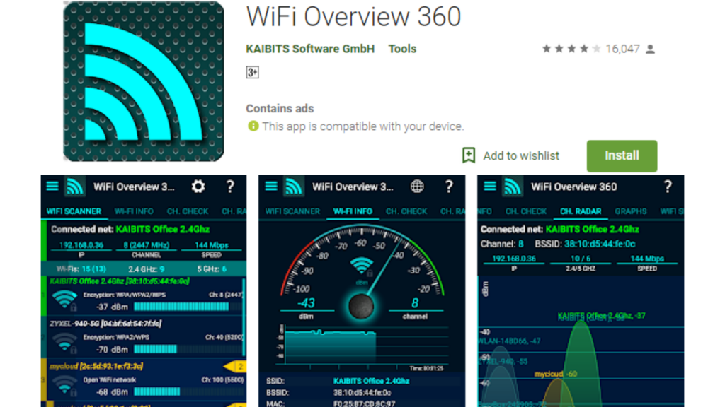 WiFi Overview of 360 Signal Boosters App