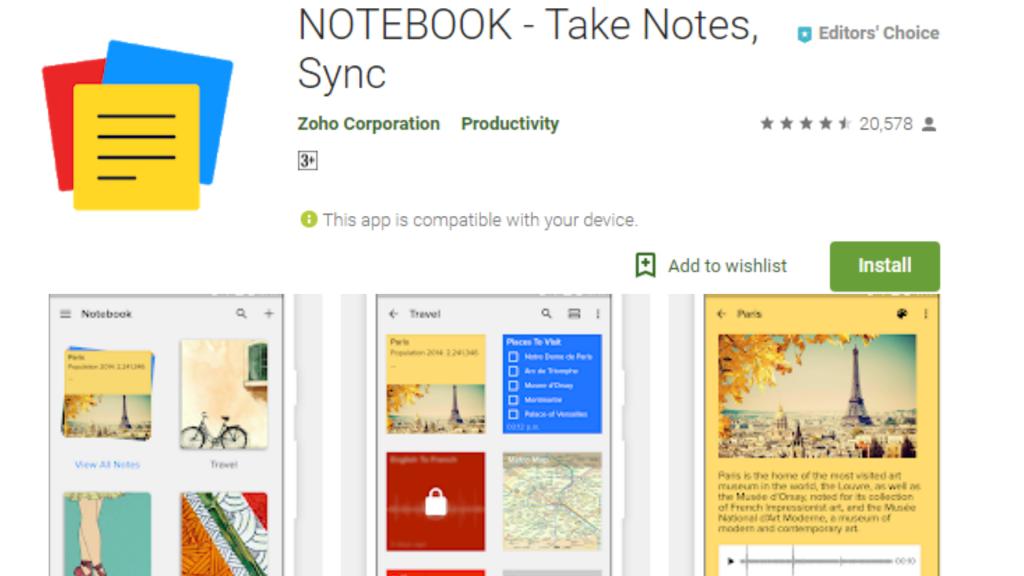 Zoho Notebook Voice Recording App