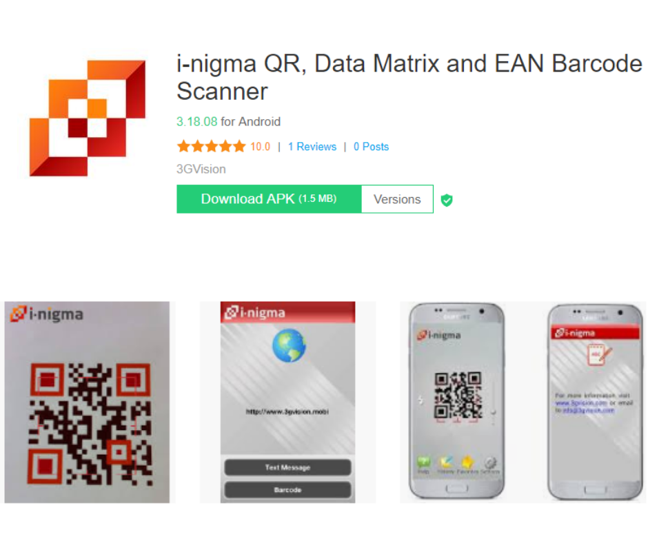 i-nigma QR, Data Matrix and EAN Barcode Scanner