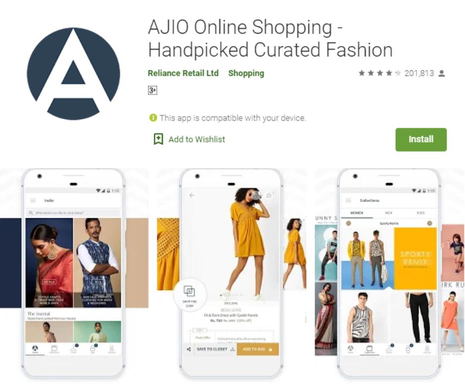 تطبيق Ajio للتسوق عبر الإنترنت