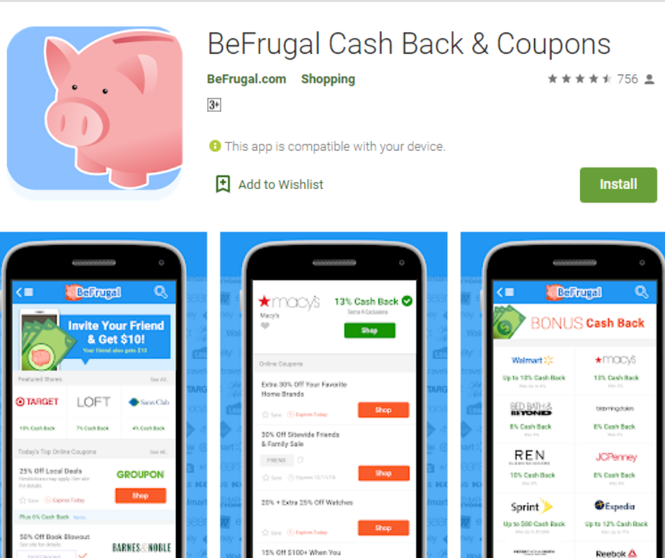 BeFrugal Best Cash Back App