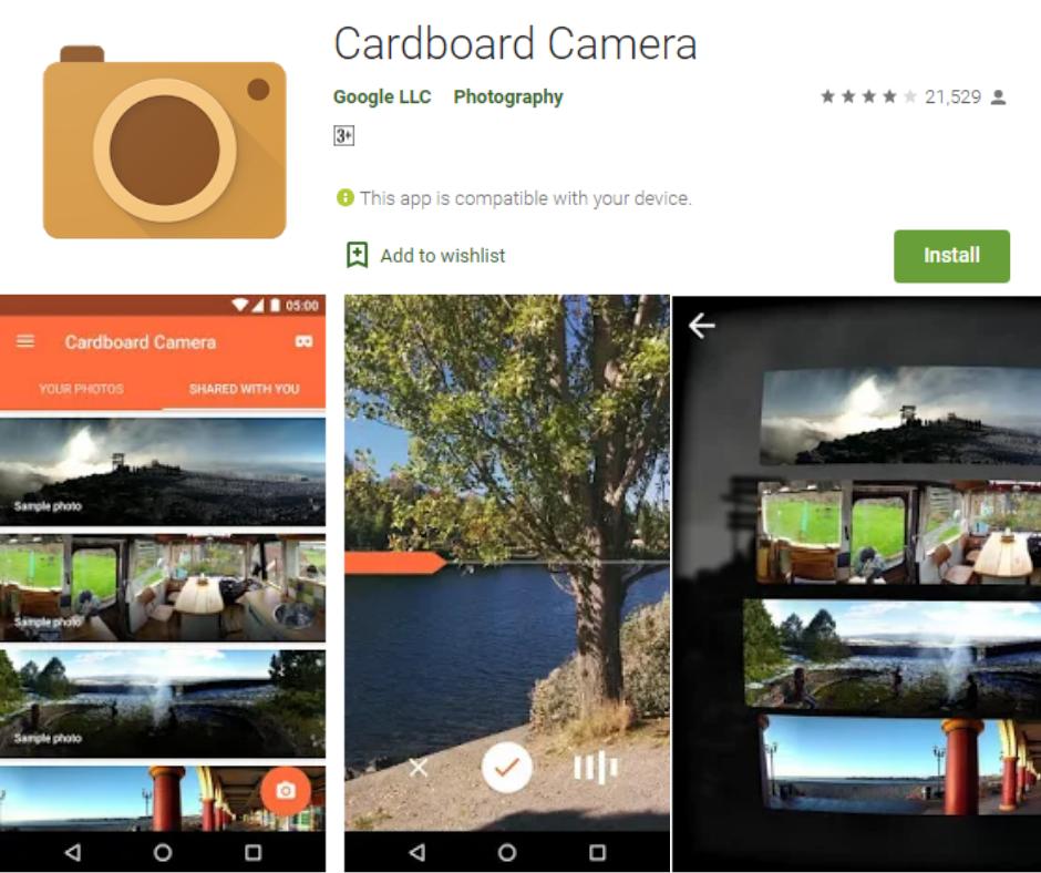 Cardboard Camera แอพ Google Cardboard ที่ดีที่สุด