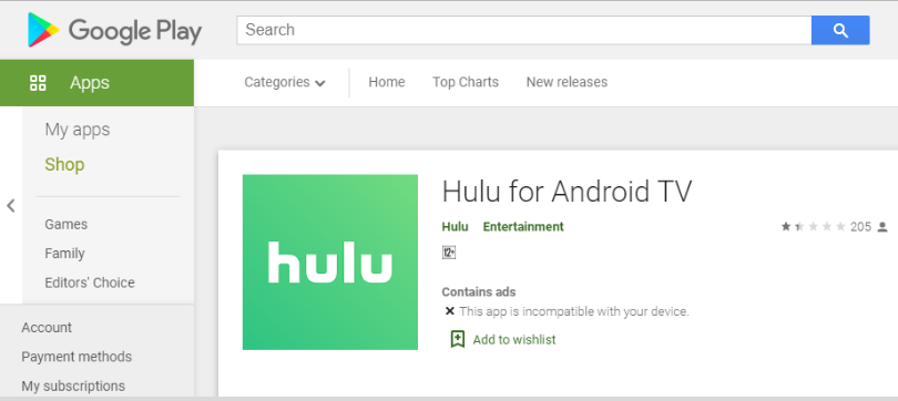 Get Hulu for Android TV application by going to Google Play Store option