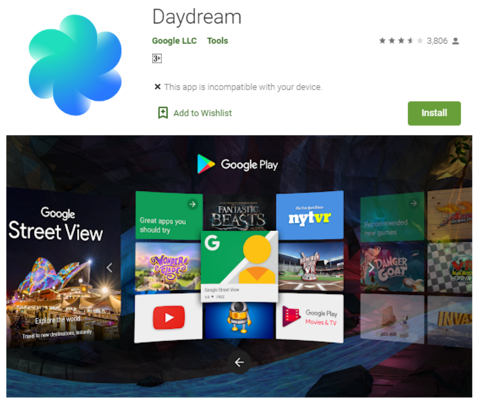 Google Daydream Virtual Reality App