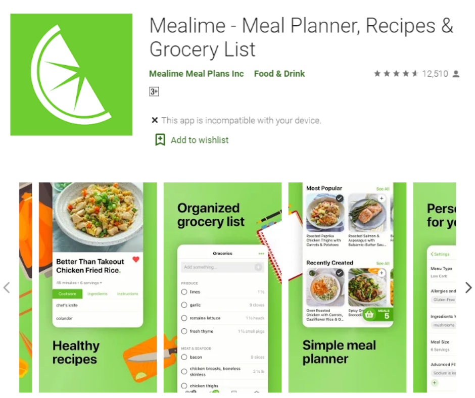 Mealime Best Grocery List App