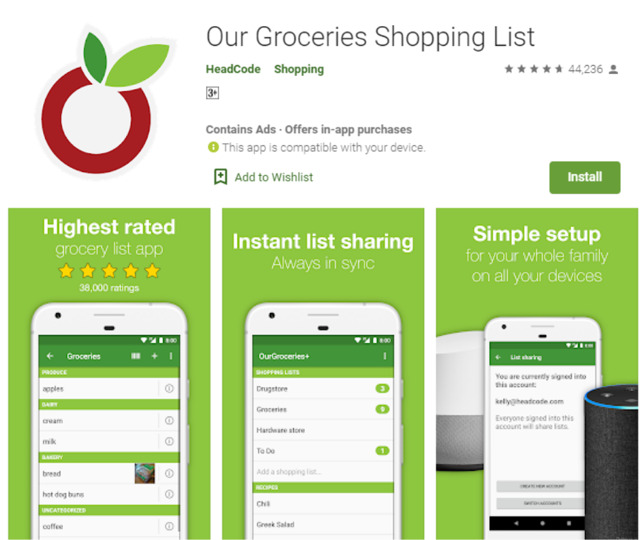 Our Groceries Best Grocery List App