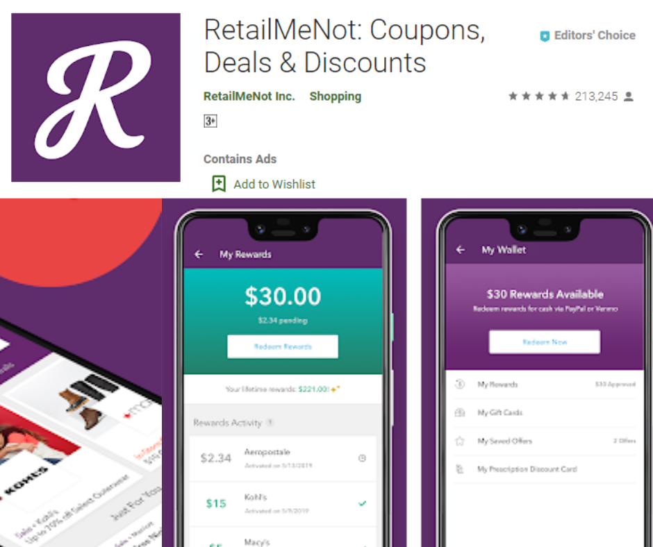 RetailMeNot Cash Back and Coupons App