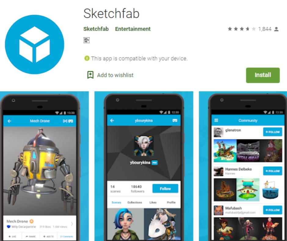 Sketchfab แอพ Google กระดาษแข็งที่ดีที่สุด
