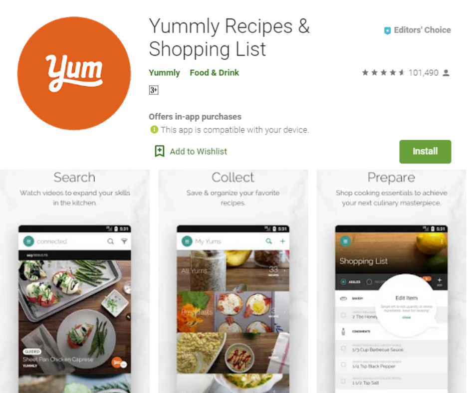 Yummly Best Grocery List App