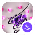New purple crystal heart APUS launcher free theme