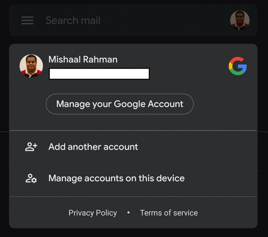Gmail Dark Mode Available only on Android 10